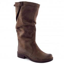 Stivali Donna in Nubuck Tortora con tacco basso - MERCANTE DI FIORI 380 ca907ec10ad