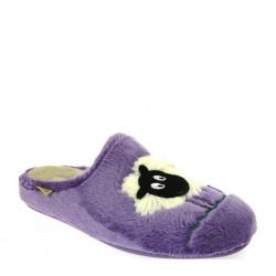 Grunland 0844, Pantofole invernali donna in panno pelo con disegno pecorella