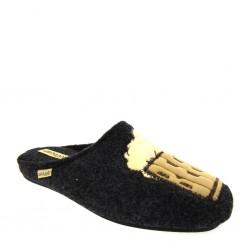 Grunland 0851, Pantofole invernali uomo in lana cotta Grigio antracite disegno boccale birra