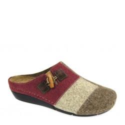Grunland 0976, pantofole invernali donna in lana cotta beige bourdeaux con plantare memory