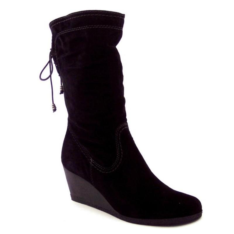 e9ceac6643f3d Stivali Donna in Camoscio Nero con zeppa - MERCANTE DI FIORI 235 ...