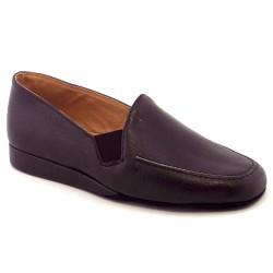 Stile di Vita 0044, Pantofole chiuse da uomo tipo mocassino, in pelle nera con fondo in camoscino, numero 44