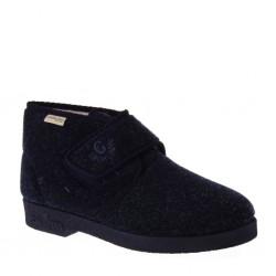 Pantofole Uomo tutta chiusa con velcro regolabile in Lana Cotta color Blu, GRUNLAND Ezio PA0009-47