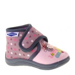POMPEA KIDS Pantofoline Invernali Bambina 201 Panno Rosa Velcro Strappo