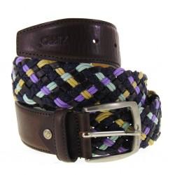 Cintura Uomo Zippo 89271 in pelle testa di moro con intreccio multicolor