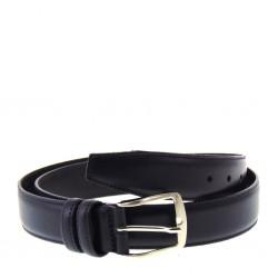 Cintura Uomo in pelle blu di manifattura artigianale italiana altezza 3,5 centimetri e fibbia color acciaio satinato