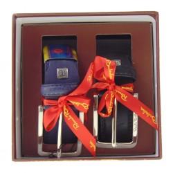 Box Regalo 2 Cinture Uomo in Pelle Blu e Pelle Nera altezza 3,5 centimetri e fibbia color acciaio lucido Renato Balestra W84535D