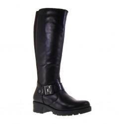 VALLEVERDE 49552 Stivali Donna in Pelle Nero con tessuto elastico al gambale
