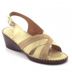 Stile Di Vita 6330 Donna Sandali pelle beige zeppa 4 confort