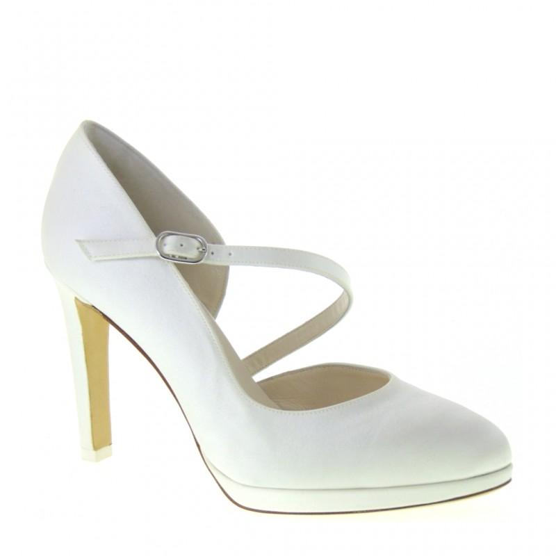 Scarpe Da Sposa Bianco Seta.Scarpe Sposa Made In Italy Tessuto Bianco Seta Elata S2616 In