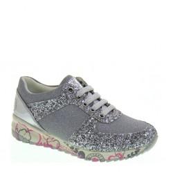 Sneakers basse da Bambina con glitter argento-  ASSO 45521