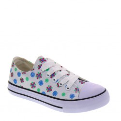 Sneakers basse da Bambina in tessuto bianco floreale-  ASSO 45850