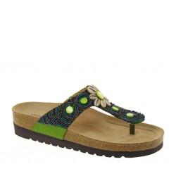 Grunland 0305 Donna Infradito tessuto verde perline zeppa 4