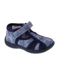 Sandaletti a ragnetto da Bambino in tessuto blu e grigio  – GRUNLAND PP0117 RYAN