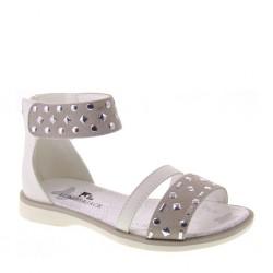Sandaletti da Bambina in camoscio grigio e pelle bianca– LUMBERJACK SG08906001 SHEILA