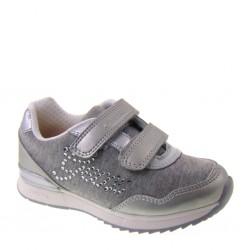 GEOX  JR MAISIE GIRL J6203C, Sneakers estive con strappi per Bimba in Tessuto con strass e Ecopelle color Grigio