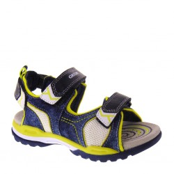 GEOX Junior Borealis J720RD 01314 C0749 Sandali Bambino in Canvas color Blu Navy  e Giallo Lime b2e3938c0c1