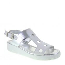 KEYS 5285 Sandali Donna Flex & Fly in pelle color Bianco e Argento