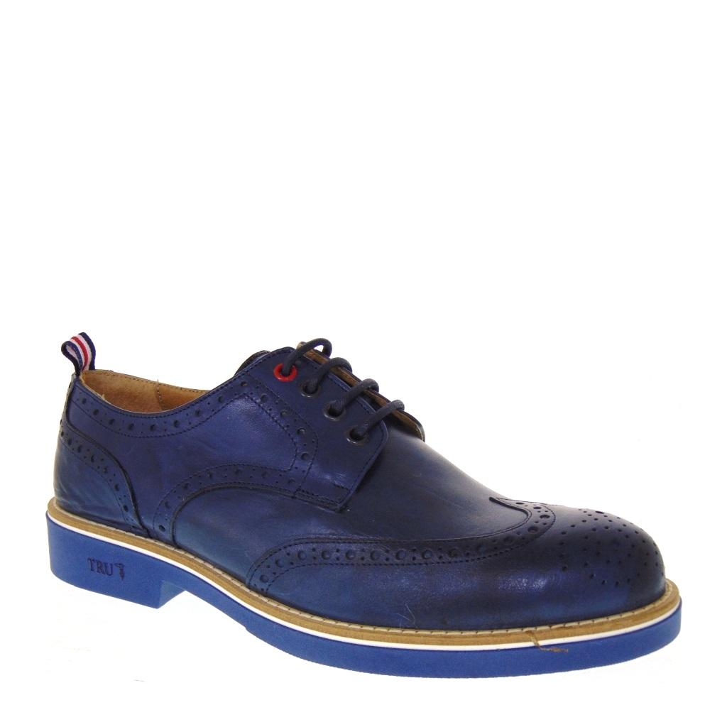 Scarpe Uomo Stile Inglese TRU TRUSSARDI 103 in Pelle Blu MADE IN ITALY 9f45e5552b7