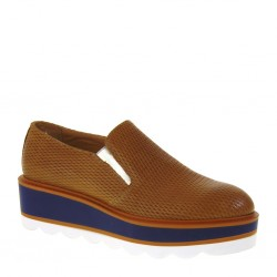 ANTICA CUOIERIA 20478-4-AB9 Slip-On Donna Pelle Punzonata color Camel Made in Italy