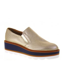 ANTICA CUOIERIA 20478-2-AB9 Slip-On Donna Pelle Punzonata color Platino Made 60b6cf8d895