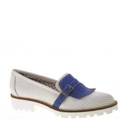 BAROLI 8920 - Mocassini donna con frangie in pelle bicolore bianco e blu