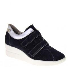 BAROLI 0022 - Sneakers donna con strappi e zeppa 50 in camoscio blu