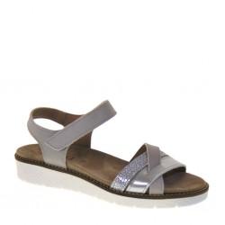 BAROLI 0034 - Sandali donna zeppa bassa con cinturino alla caviglia in pelle color grigio tortora