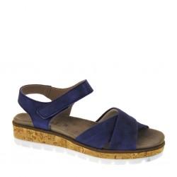 BAROLI 0035 - Sandali donna zeppa bassa sughero, con cinturino alla caviglia, in camoscio blue jeans