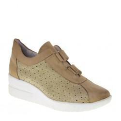 Baroli 0023 Donna Sneakers camoscio pelle beige zeppa 4