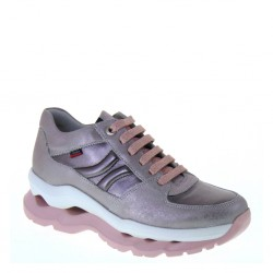 CALLAGHAN 18800 Marley Piedra Purple Sole Sneakers stringate in Pelle Grigia con suola Rosa ADAPTACTION