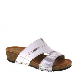 FLY FLOT 232487G Ciabatte Estive Donna Pelle Bianco Argento Made in Italy