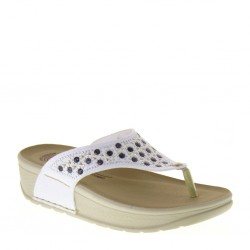 FLY FLOT 38C44A2 Infradito Donna in Pelle Bianco anatomiche Made in Italy