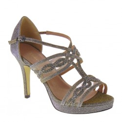 MENBUR 20271 0071 Sandali eleganti Cerimonia Grigio cangiante Tacco 10 cm con plateau