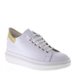 OSVALDO ROSSI Sneakers Moda Casual Primaverile in Pelle Bianco e Oro