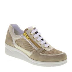 Riposella 75650 Sneaker Casual Donna Tela Camoscio Platino Tacco A Zeppa 4,5Cm Cerniera