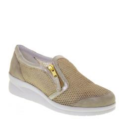 Riposella 75658 Sneaker Casual Donna Tela Camoscio Platino Tacco A Zeppa 4,5Cm Cerniera